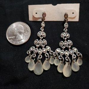 Silver Prism Stone Chandelier Earrings